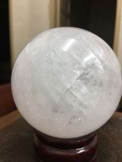 Milky White Calcite Crystal Sphere-B