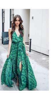 Green long floral Bohemia dress