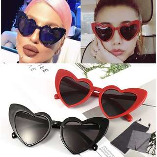 FREE POUCH & WIPER | Heart Love Cat Eye Retro Summer Sunnies Sunglasses Shades Eyewear