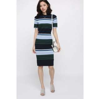 LOVE BONITO DABERATH STRIPED MIDI KNIT DRESS