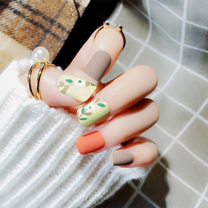 24pcs/Set Summer Colorful Nail Art Tips Long Matte Full Finished ...