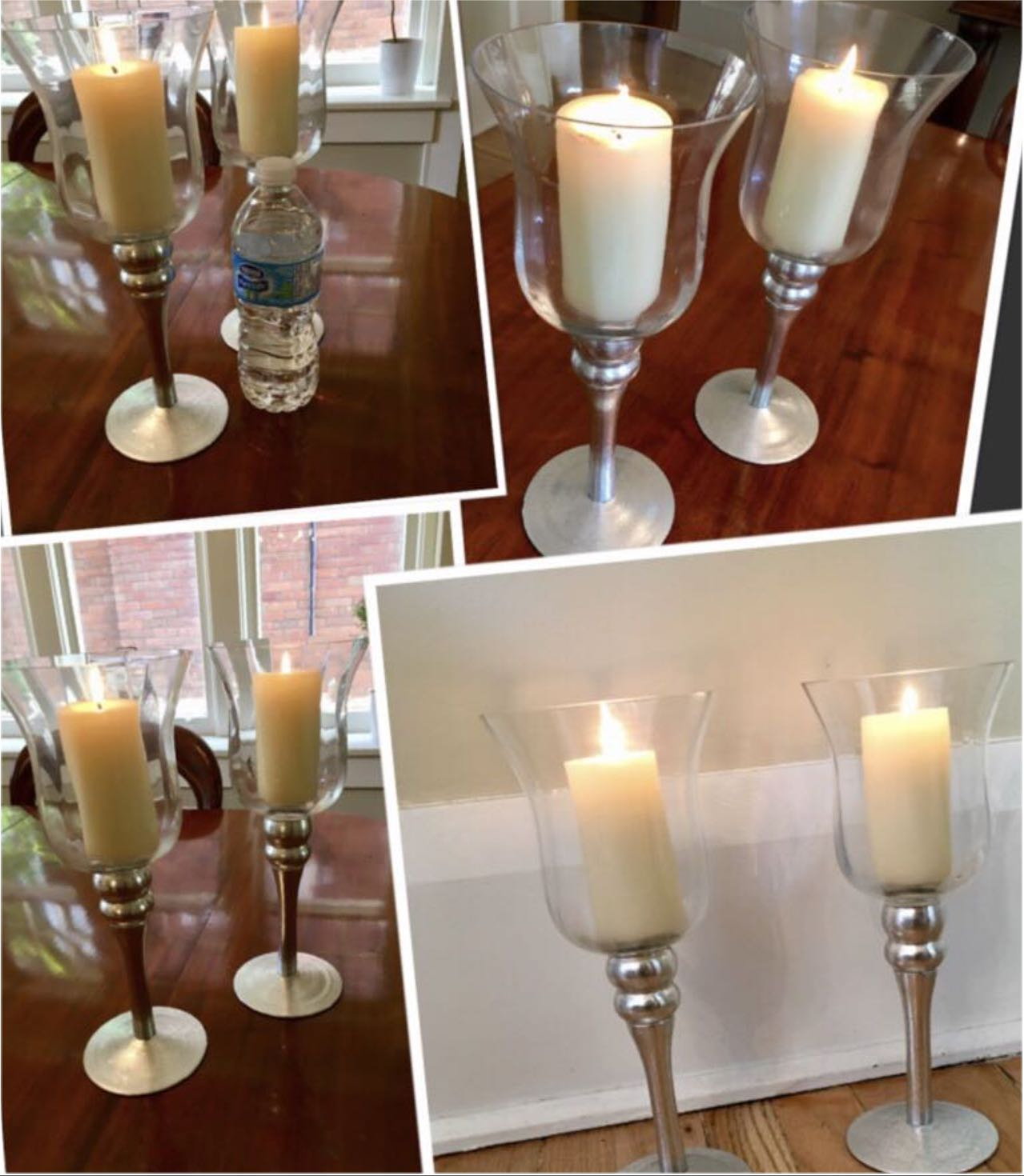 ***2 stunning glass and silver color candle holders with 2 candles included***