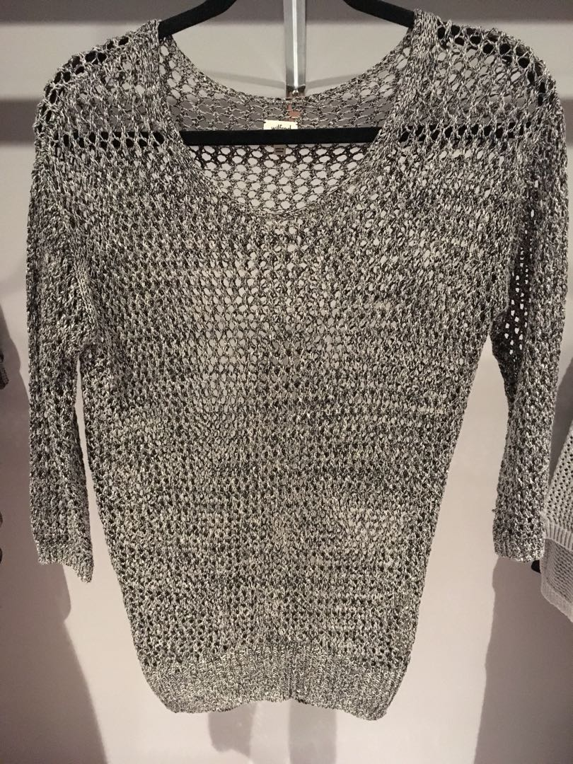 Aritzia Wilfred linen knitted see through sweater