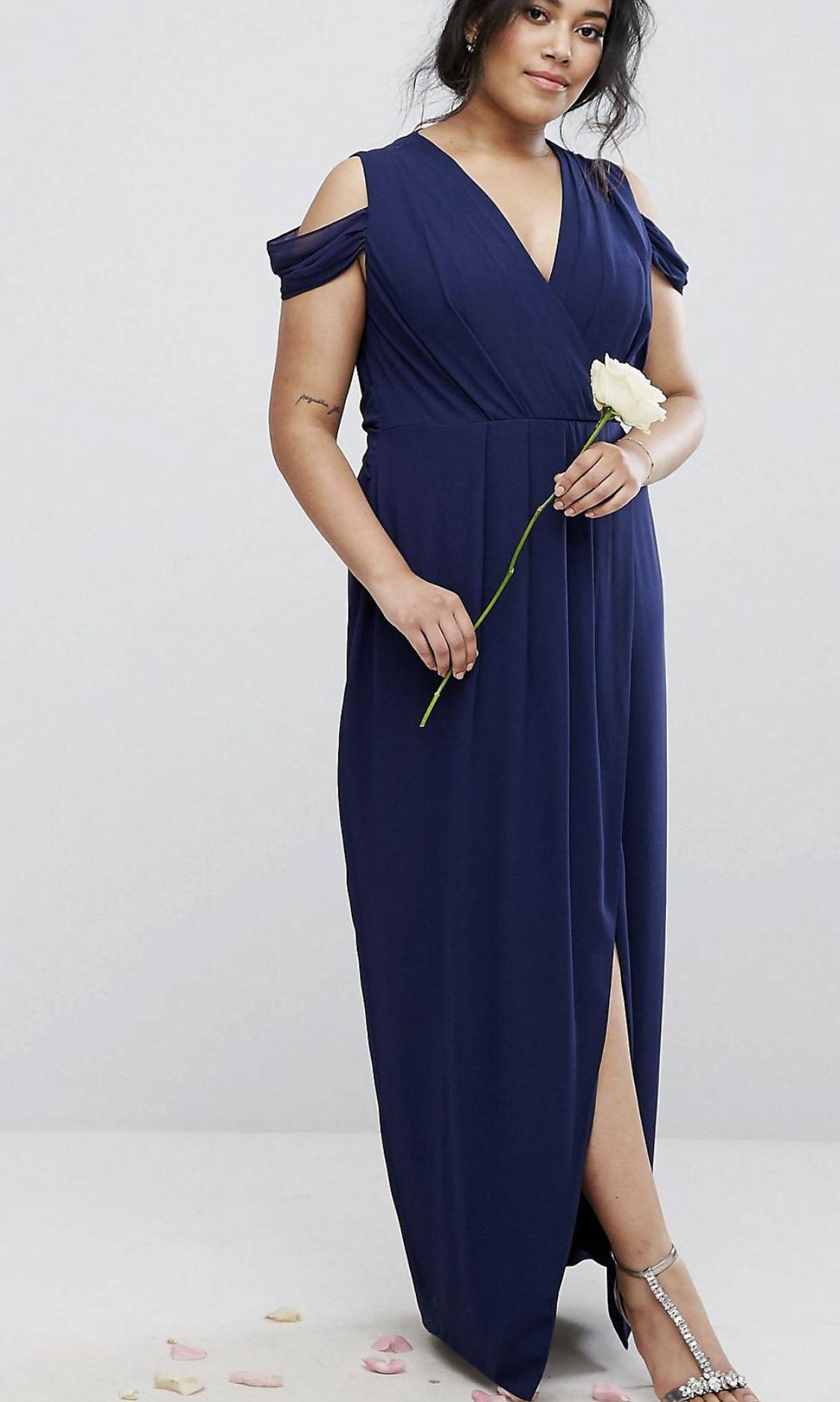 08569344590 ASOS plus size wedding navy blue Long evening dress uk18