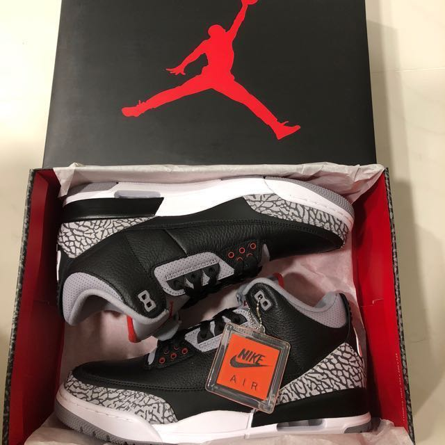 41df675c746 BNIB Nike Air Jordan 3 Retro OG Black Cement UK10.5 US11.5, Men's Fashion,  Footwear on Carousell