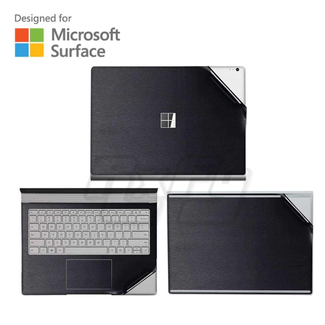 brushed metal black microsoft surface book 2 laptop skin decal