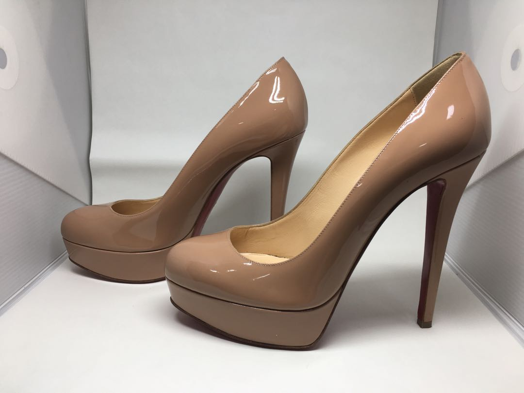 1bb41f7df30 Christian Louboutin Nude Patent Leather Bianca 120 Pump Heels 40 ...