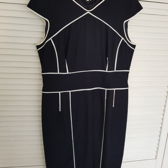 David Lawrence Black with White line dress