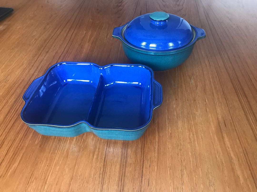 Denby Metz Divided dish & covered casserole