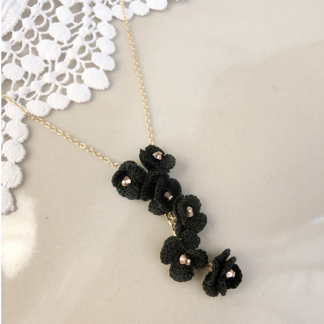 flower drop necklace with Swarovski beads - flower pendant necklace ... 74b506709b