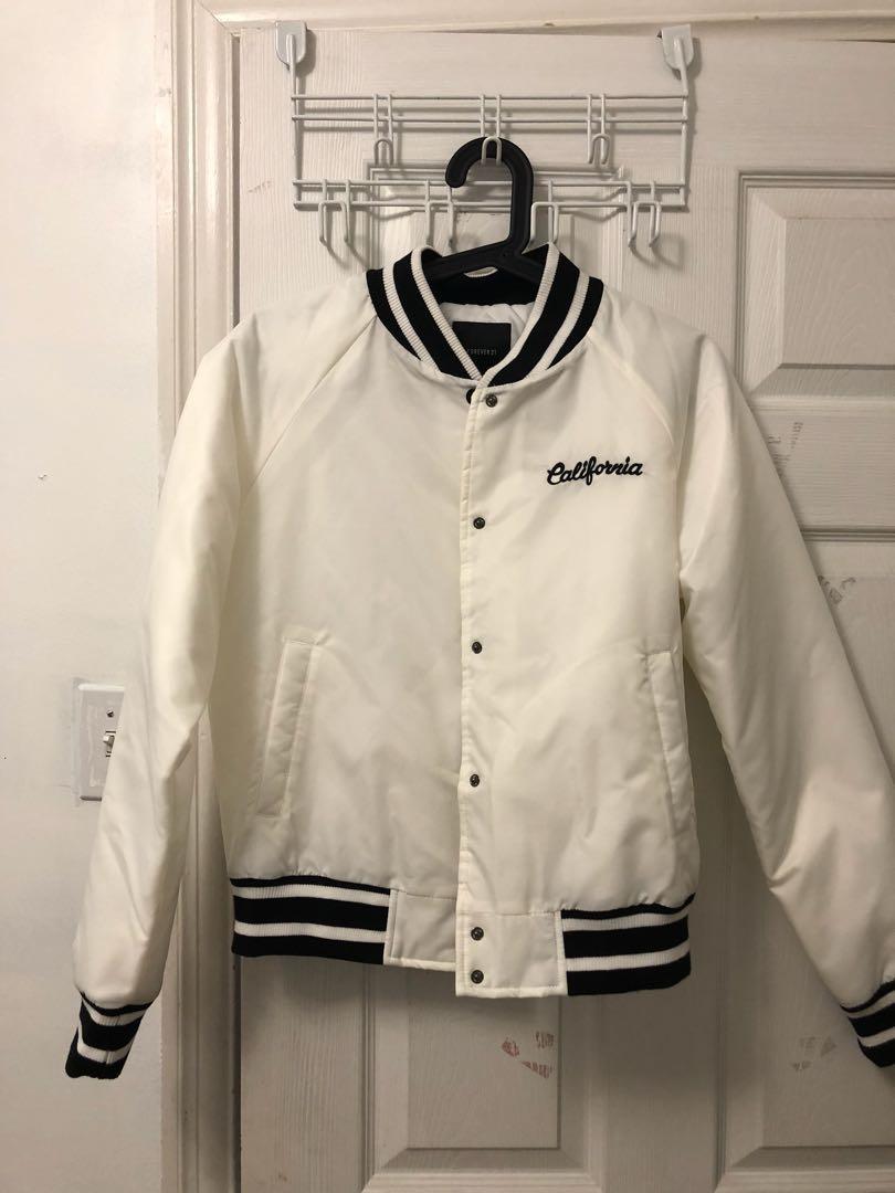 Forever 21 white bomber jacket