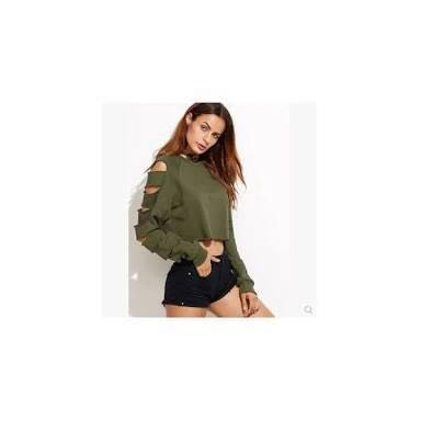 Kaki greeen/ army green crop top with ripped sleeves