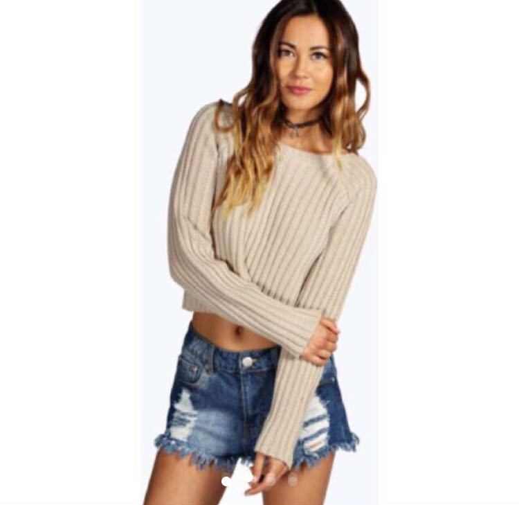 Knit crop ribbed jumper - grey white and stone