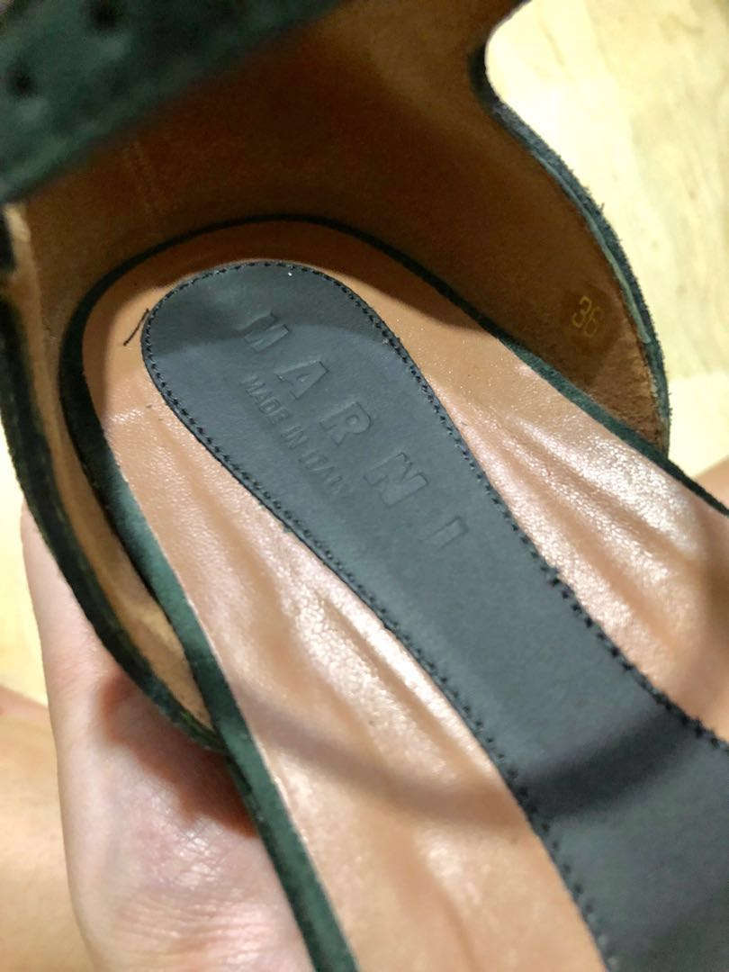 MARNI Suede leather flatform sandals | Dark Green | EU 36 #easter20