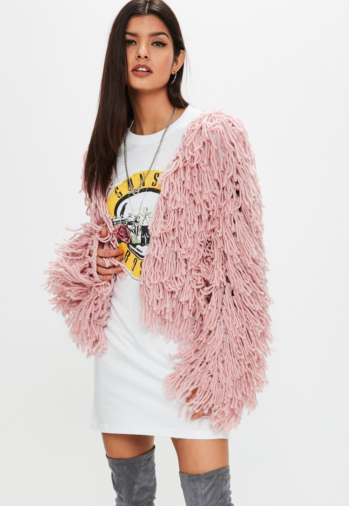 MISSGUIDED PREMIUM SHAGGY KNITTED CARDIGAN (2ND PHOTO IS ACTUAL COLOUR) - SIZE 10