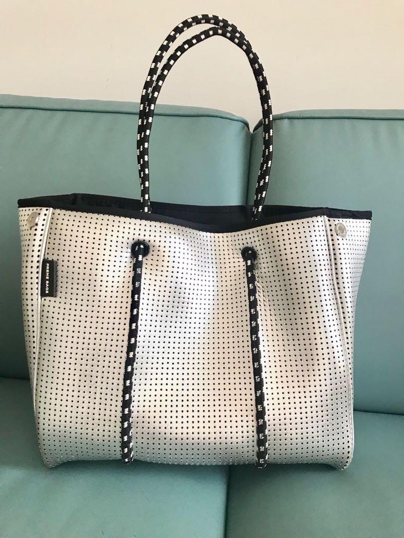 483b6a1434 PRENE BAGS - metallic silver neoprene tote bag