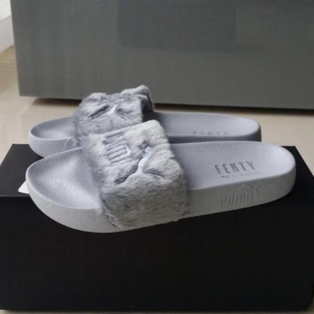 check out 7d3bc 84274 Puma Fenty by Rihanna 'Leadcat Fenty' Faux Fur Slide Grey ...