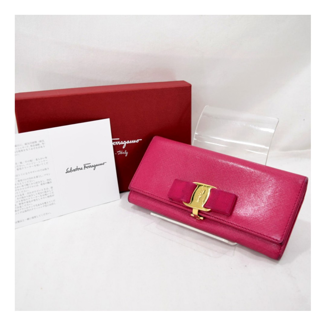 Salvatore Ferragamo  ◆ two-fold wallet / ribbon Vala / pink 22B559 (SHIP  FROM  JAPAN)