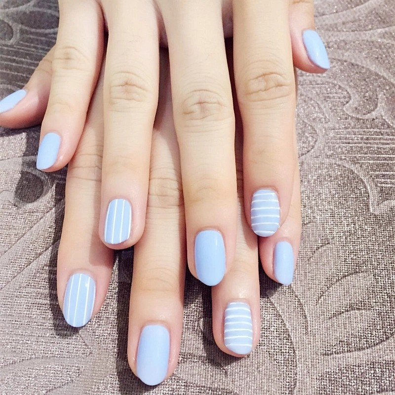Simple24pcs/set Navy blue horizontal vertical stripe False nails ...