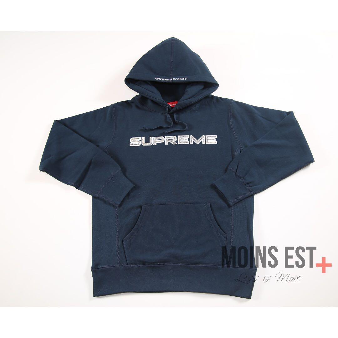 SUPREME S/S 17 Sequin Logo Hooded Sweatshirt - Navy