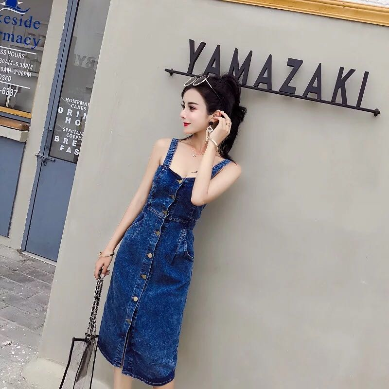 26146140865 Sweetheart Denim Low Bare Back Slit Front Back Bodycon Midi Dress ...