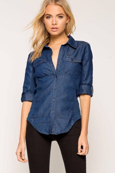 b690d02b3e1 The Fitted Denim Shirt COTTON ON