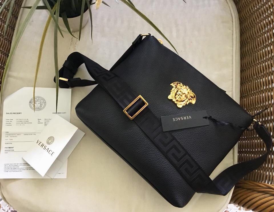 250071d9cd8 Versace Medusa Head leather messenger bag , Luxury, Bags & Wallets on  Carousell