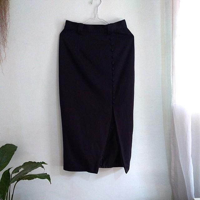 Vintage navy blue high waist midi pencil skirt with lining