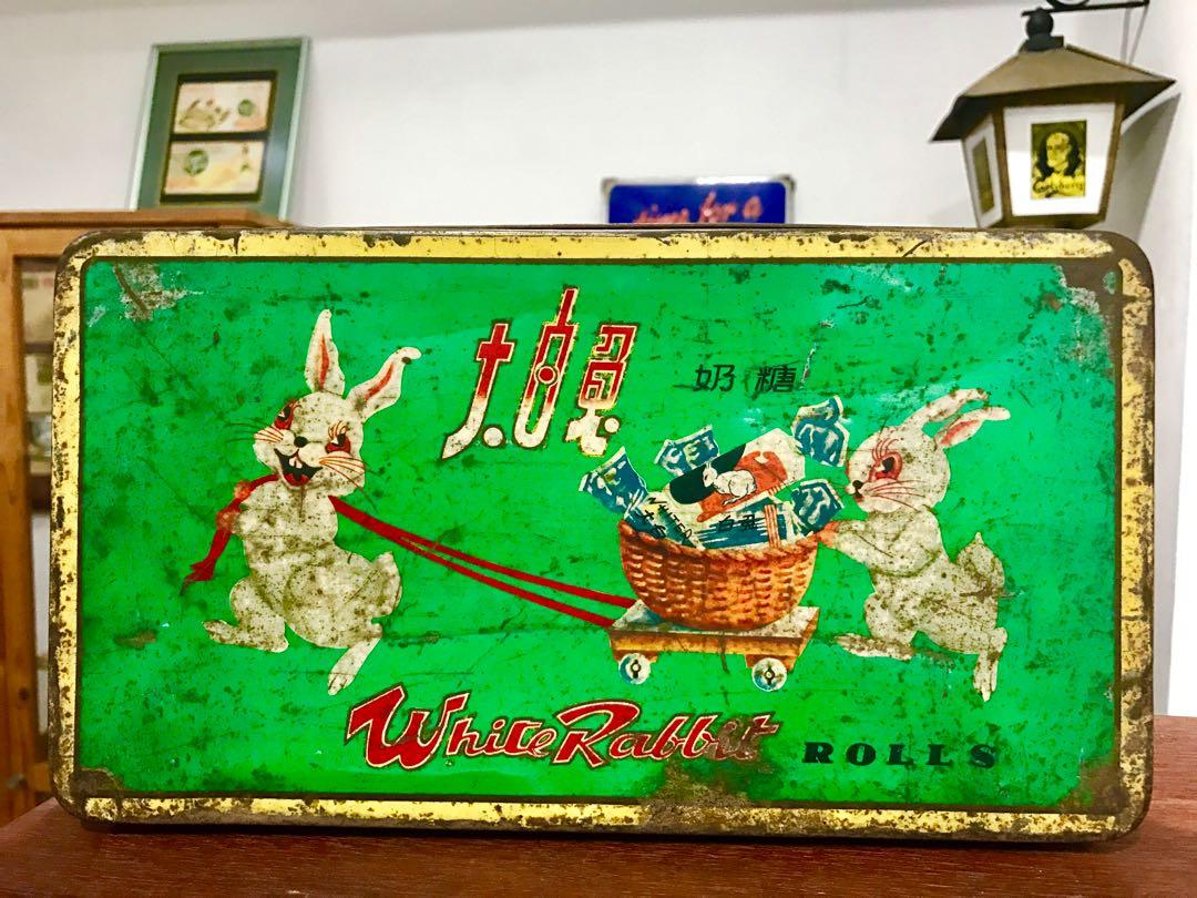 Vintage White Rabbit Tin