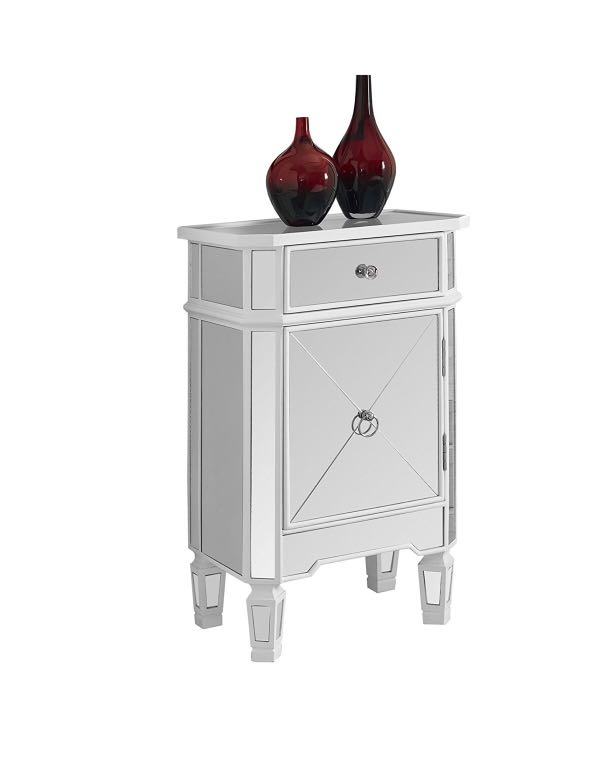 White mirrored side table with storage. Great condition. Retail $350 (Amazon)