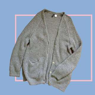 Divided Knitted Long Cardigan