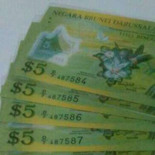 💱UNC With 4 Runs Brunei Polymer 2011 Series $5 Note 💱