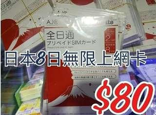 日本上網卡 日本docomo 日本數據卡 電話卡