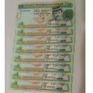 💱UNC 8 Runs Of Year 1995 Brunei $5 Notes 💱