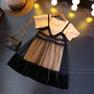 Girl baby solid color long T+ mesh strap dress