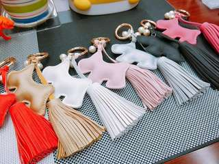 cute doggy keychain with tassel