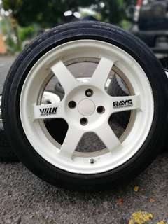 Te37 16 inch sports rim honda city tyre 70%. *below market price*
