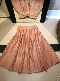 Glossy Long Skirt in Pink