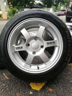 Te37 sports rim satria neo 15 inch tyre 70%. *below market price*