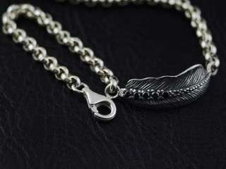 Japan Gothic Jewelry 925 Sterling Silver Gothic Silver Set With Diamonds Feather Bracelet, Gothic Silver Bracelet