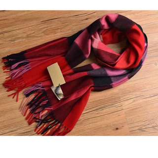 Burberry Cashmere Scarf Wool Red