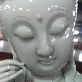 清代(朝) 德化白瓷 觀世音菩薩 持如意 法相很好 何朝宗 德化窯