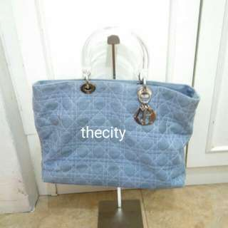 AUTHENTIC DIOR, LADY DIOR LARGE DENIM (JEANS) TOTE BAG