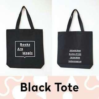 Books are magic tote bag (black/pink)