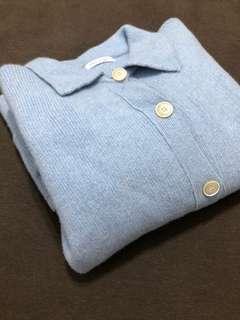 正韓 BABY藍羊毛翻領袖釦針織外套