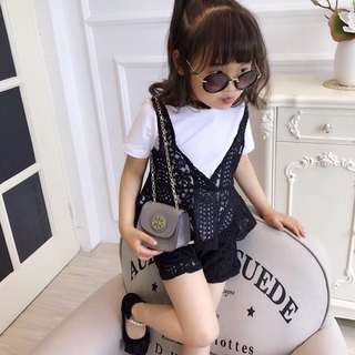 Girl short-sleeved T-shirt + lace shorts leisure suit three-piece
