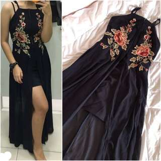 Embroidery front slit maxi dress