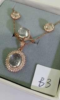 925銀鑲水沫玉套裝首飾