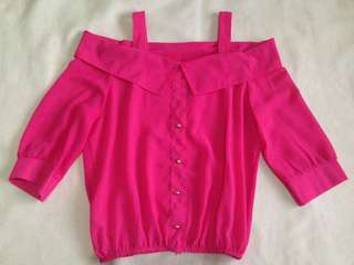 FREE SHIPPING!!! PINK COLD-SHOULDER TOP