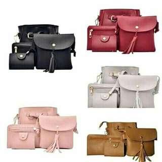 Korea 4 in 1 sling bag Available color: black, pink, brown, light gray, dark gray
